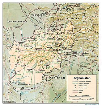 Outline of Afghanistan - An enlargeable relief map of Afghanistan