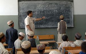 Afghan students learning English.
