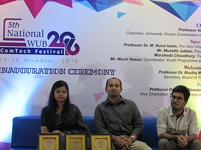Afifa Afrin, Nurunnabi Chowdhury Hasib and Nahid Sultan in panel discussion of All Women Workshop on Wikipedia at 5th National WUB 2016, ComTech Festival at World University, Dhaka, Bangladesh in 24 November 2016.jpg