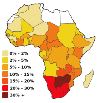 HIV/AIDS in Malawi - Prevalence of HIV/AIDS in adult (ages 15–49) populations (1999–2002)