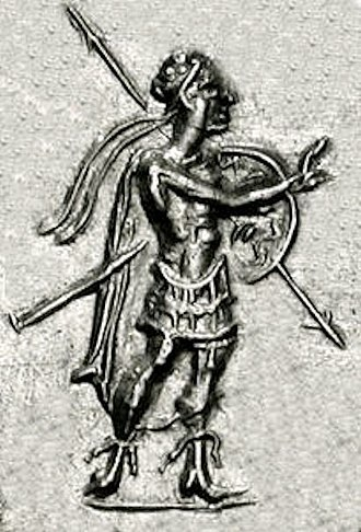 Strato I - Strato in combat gear, on a coin of Agathokleia, making a blessing gesture, circa 100 BCE.