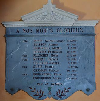 Agnin - The War Memorial in the Church