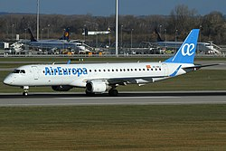 Air Europa Embraer 195 in new livery at Munich Airport.jpeg