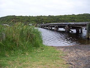 Aire River (Victoria) - The Great Ocean Walk across the Aire River, in 2007.
