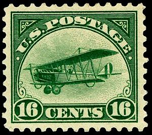 1918 Curtiss Jenny airmail stamps - Image: Airmail 2 1918 Issue 16c