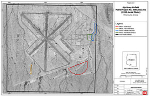 Eric Marcus Municipal Airport - US Army COE FUDS map over 1953 airphoto
