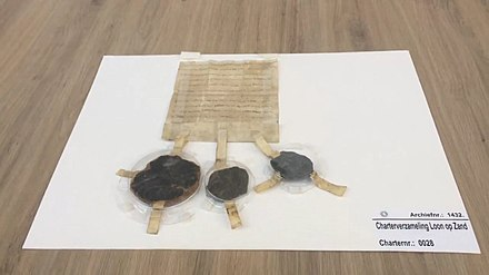 The charter from 1269 that loans the land from John I, Duke of Brabant to Willem van Horne. Namesake of Loon op Zand. Akte van Belening van Loon op Zand.jpg