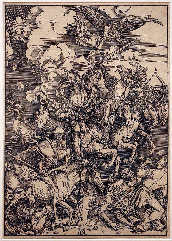 """Les quatre cavaliers de l'apocalypse"" de Durer au Museu Nacional de Arte Antiga de Lisbonne.Photo de Sailko."