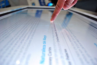 Multi-touch - Finger touching a multi-touch screen