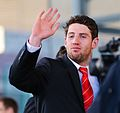 Alex Cuthbert waves to the fans! Wales Grand Slam Celebration, Senedd 19 March 2012.jpg