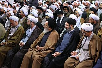 Mojtaba Khamenei - Mojtaba Khamenei and other members of Qom Seminary on 15 March 2016.