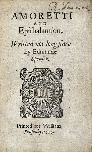 Amoretti - The title page from the first edition of Amoretti and Epithalamion, printed by William Ponsonby in 1595.