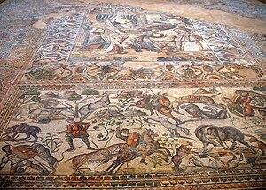 English: Figurative roman mosaic in roman vill...