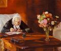 Anna Ancher - Ane Hedvig Brøndum siddende ved sit skrivebord i den røde stue - 1910.png