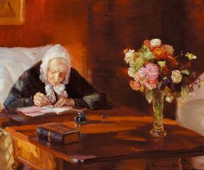 Ane Hedvig Brøndum at her table