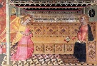 Jacopo di Cione - Image: Annunciazione, jacopo di cione, prato, chiesa di santo spirito