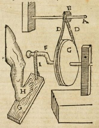 Anselmus de Boodt - Instrument for cutting stones, p. 56 of the Gemmarum et Lapidum Historia
