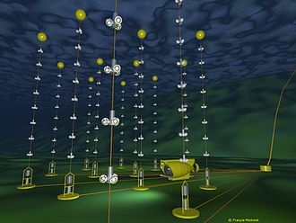 Neutrino detector - An illustration of the Antares neutrino detector deployed under water.