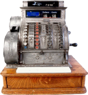 Antique three-column full-keyboard cash register
