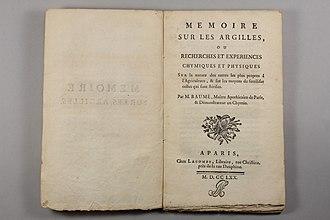 Antoine Baumé - Memoire sur les argilles, on agricultural chemistry, 1770