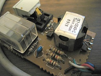 LocalTalk - Image: Apple Local Talk box interior 2 auto termination switch