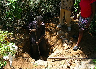 Pit latrine - Digging the pit for an Arborloo, a type of pit toilet in Cap-Haitien, Haiti