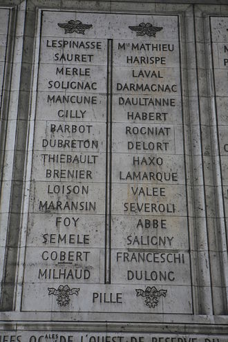 Paul Thiébault - Thiébault's name engraved on the 35th and 36th columns of the Arc de Triomphe.