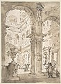 Architectural Capriccio- Courtyard of a Palace (recto); Saint Aloysius Gonzaga Holding a Crucifix (verso) MET DP810124.jpg
