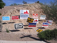 Campaign Signs Including For Graf R Giffords D And Quick I Arizona S 8th Congressional District