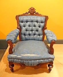 Armchair, T. Brooks & Company, Brooklyn, NY, 1872, walnut, modern upholstery - Brooklyn Museum - DSC09211.JPG