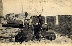 Tunisian Armed Forces - Tunisian artillery and gunners, circa 1900