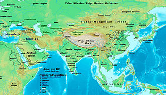 Indian campaign of Alexander the Great - Asia in 323 BC, the Nanda Empire of Ancient India in relation to Alexander's Empire and neighbors