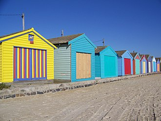Aspendale, Victoria - Beach huts on the beach at Aspendale