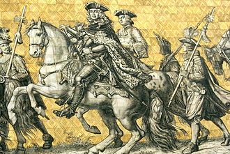 History of Saxony - August II in the foreground, August III behind him as depicted on Fürstenzug mural in Dresden