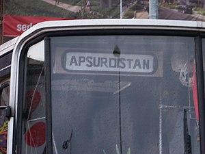 Absurdistan - A French bus DA-591-TG parked in Prague near the Trafačka art gallery