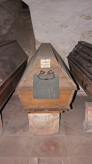 Frederick V, Landgrave of Hesse-Homburg - Sarcophagus of Frederick V in the landgraviate's vault.