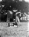 Baldomer Gili Roig. Baldomer Gili Roig i un nen pintant en un jardí de Frascati (Roma), 1900 - 1904.jpg
