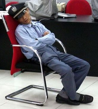 Sleeping while on duty - A security officer sleeping on duty