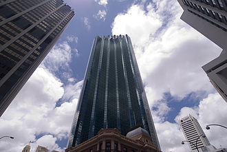 108 St Georges Terrace - The south-western face of the tower, viewed from the intersection of St Georges Terrace and William Street