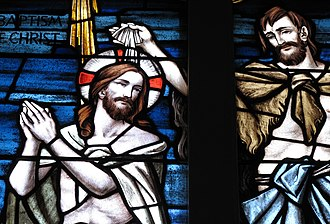 St. Matthew's German Evangelical Lutheran Church - Detail of the Baptism of Christ window