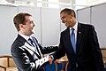 Barack Obama bids farewell to Russian President Dmitry Medvedev.jpg