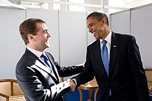 Barack Obama bids farewell to Russian President Dmitry Medvedev.jpg