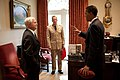 Barack Obama with Robert Gates and Michael Mullen in the West Wing.jpg