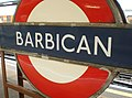 Barbican tube station sign.jpg