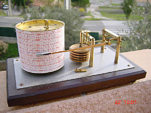 Barograph using five stacked aneroid barometer...