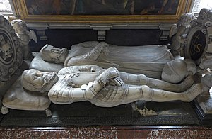 "Charles II, Archduke of Austria - Gisants of Charles II Francis of Austria and his wife Maria Anna of Bavaria on the cenotaph of ""Habsburg mausoleum"", Seckau Abbey"