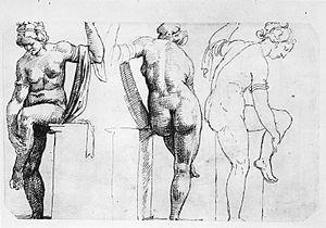 Female Figure (Giambologna) - Bathing Venus, ink on paper drawing, Maarten van Heemskerck