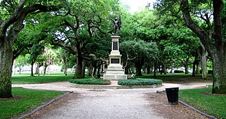 """White Point Garden - """"The monument sometimes referred to as the """"Sergeant Jasper Monument"""" commemorates the victory of the colonists over the British at Fort Moultrie in 1776. It bears the inscription """"To the Defenders of Fort Moultrie - June the 28th, 1776."""""""
