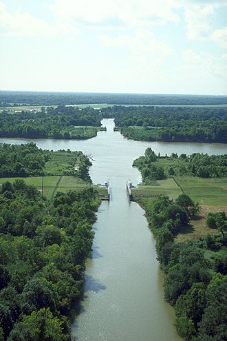 Bayou Teche - Bayou Teche at its intersection with the Wax Lake outlet of the Atchafalaya River in St Mary Parish, Louisiana. The bayou runs bottom–top in the picture. View is to the west-northwest.