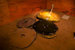 Beagle 2 - Model of the Beagle 2 at the Spaceport in Wirral, Merseyside, depicting the spacecraft in a state similar to the way it was found in 2015